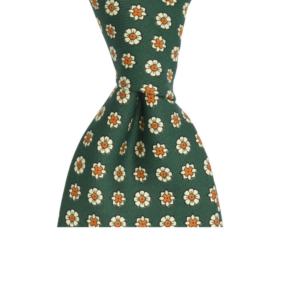 Amidé Hadelin | Handprinted floral silk tie, green