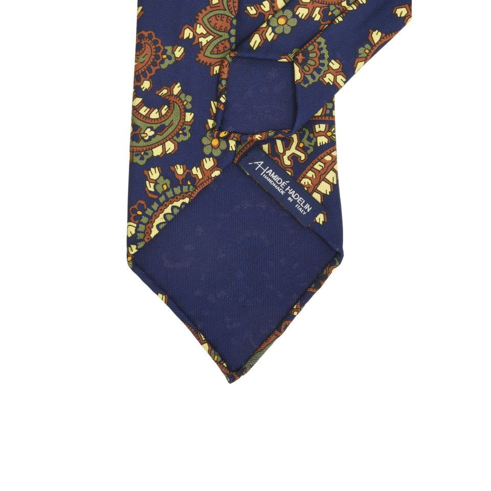 Amidé Hadelin | Handprinted ancient madder paisley tie, navy