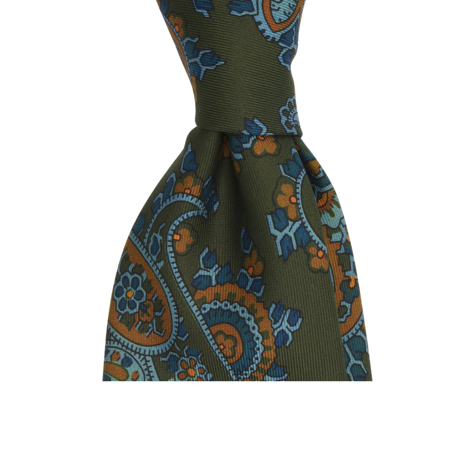 Amidé Hadelin | Handprinted ancient madder paisley tie, olive