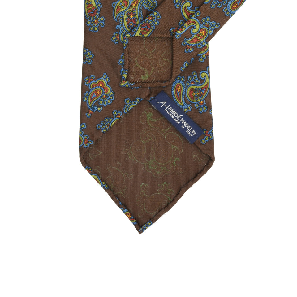 Amidé Hadelin | Handprinted ancient madder paisley tie, brown