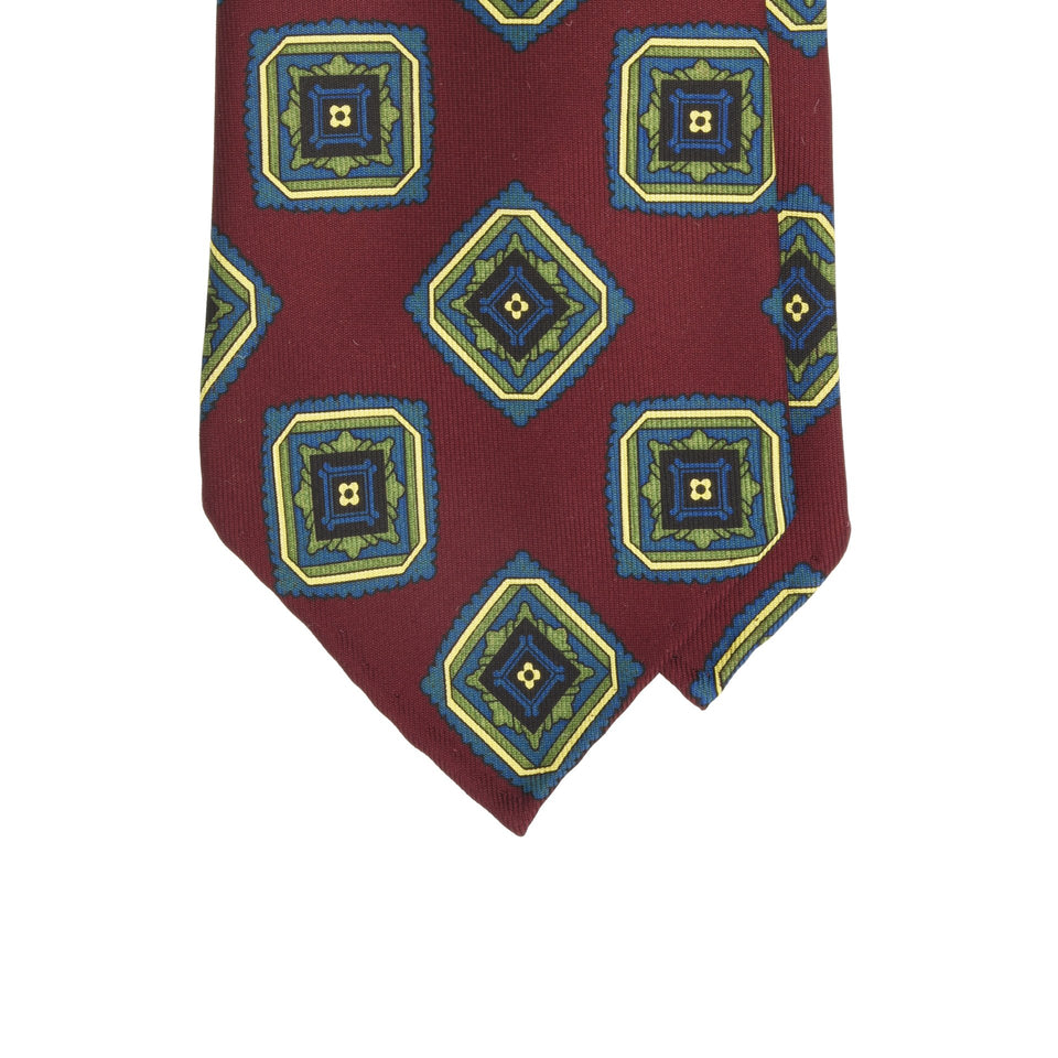 Amidé Hadelin | Handprinted ancient madder tie, burgundy