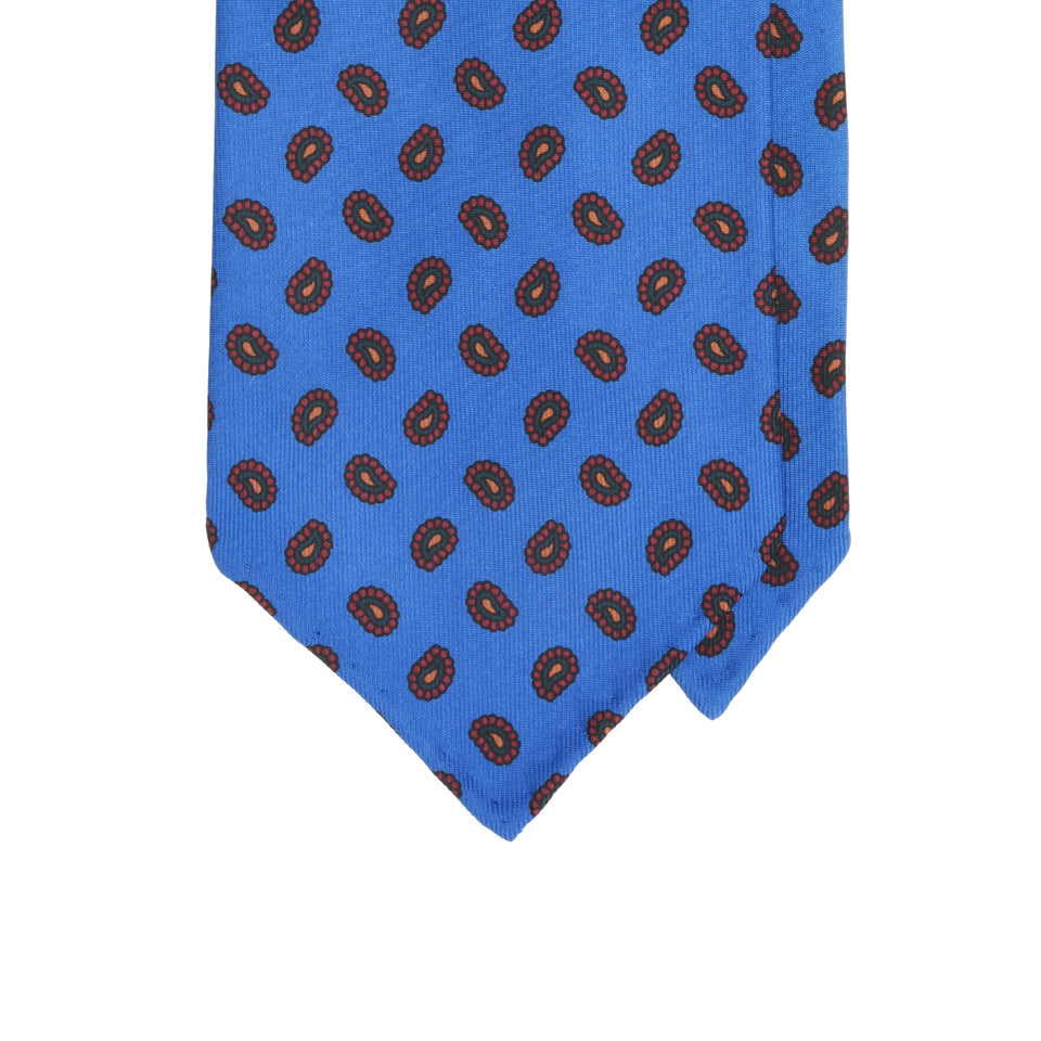 Amidé Hadelin | Handprinted ancient madder tie, blue