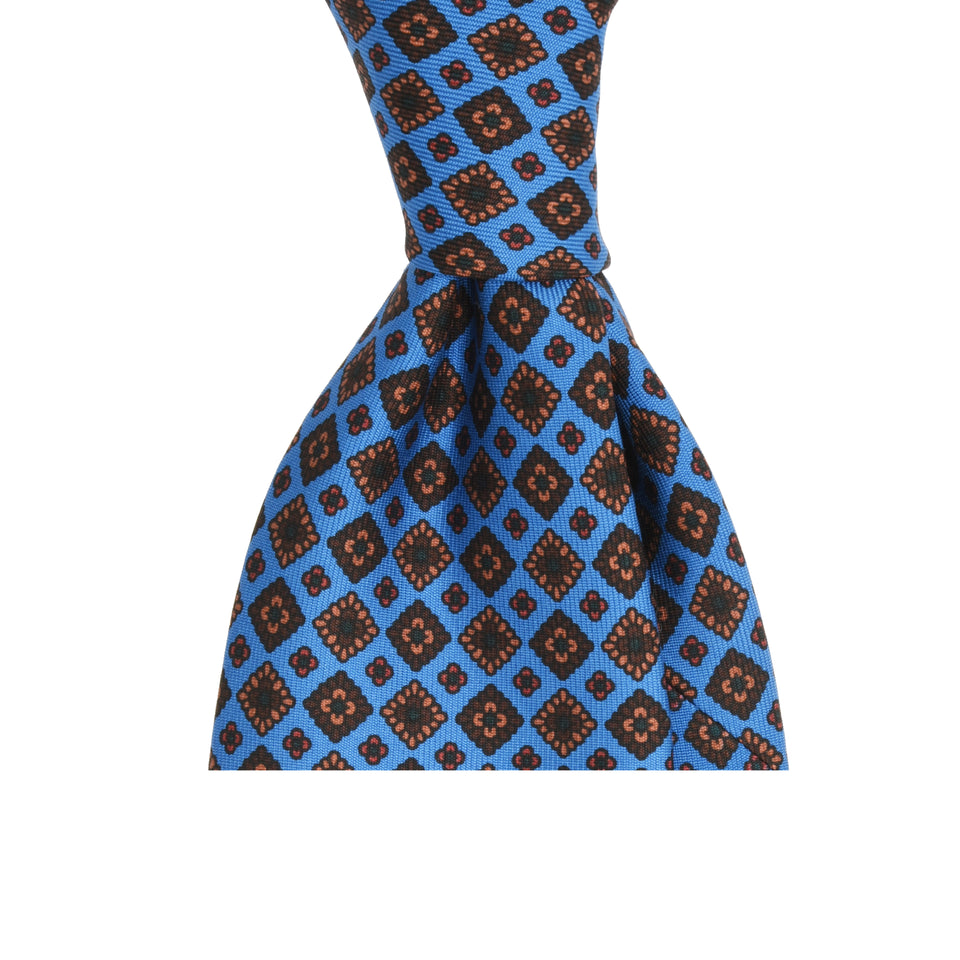 Amidé Hadelin | Handprinted ancient madder tie, light blue