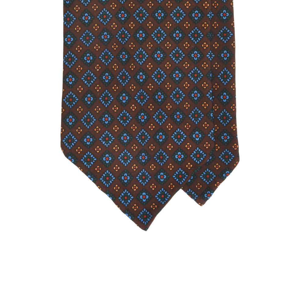 Amidé Hadelin | Handprinted ancient madder tie, brown