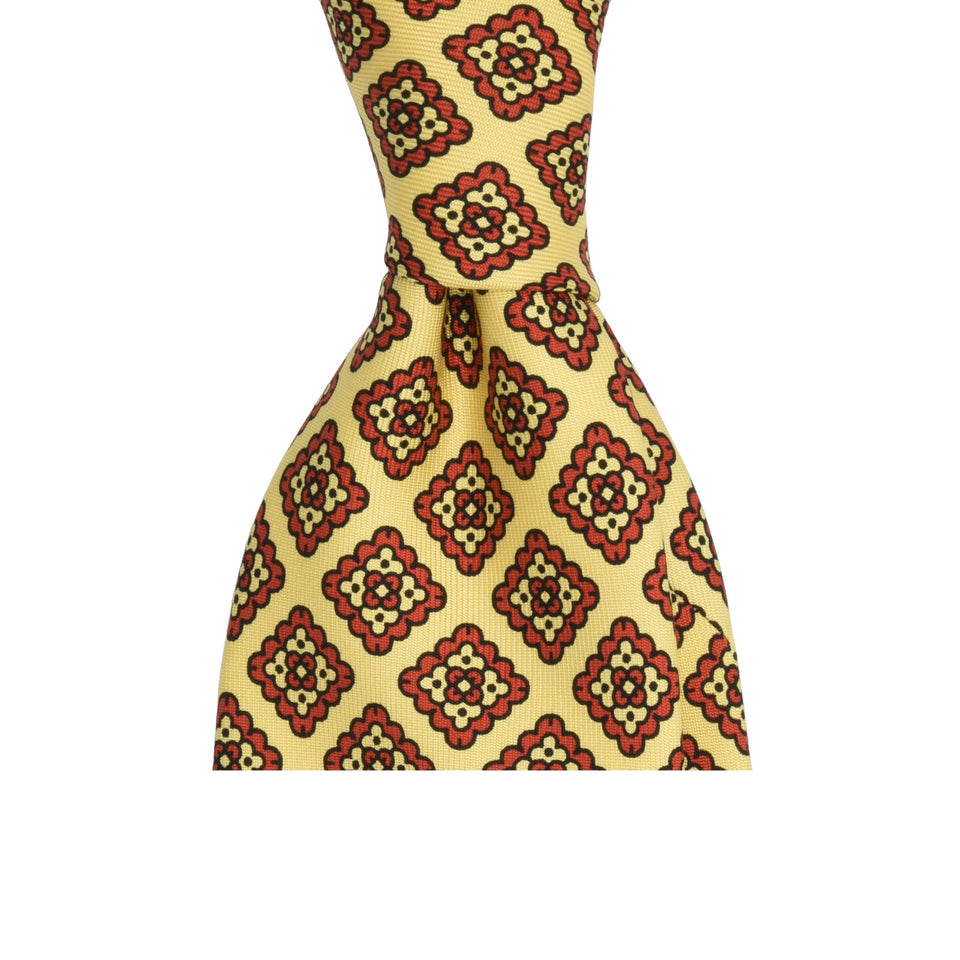 Amidé Hadelin | Handprinted ancient madder tie, cream
