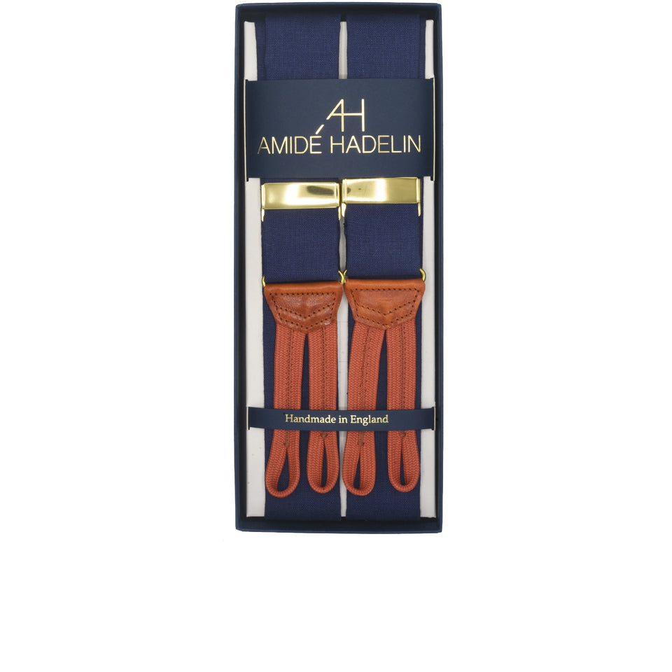 Amidé Hadelin | W. Bill Irish linen braces - purple