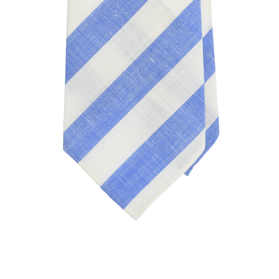 Amidé Hadelin | Fox Brothers wool/linen tie - light blue/white