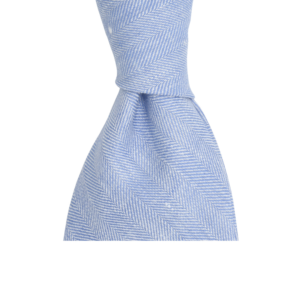 Amidé Hadelin | Harrisons herringbone linen tie - light blue