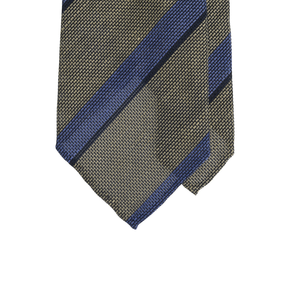 Amidé Hadelin | Silk/linen tie - brown/blue