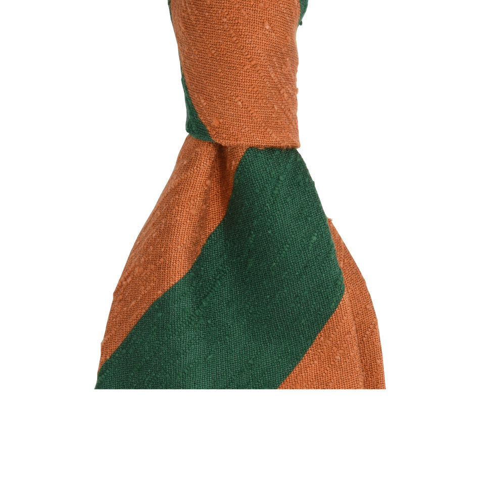 Amidé Hadelin | Shantung block stripe tie - green/orange