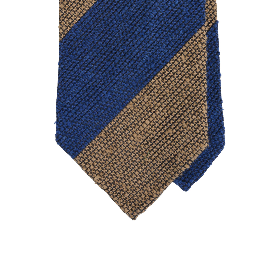 Amidé Hadelin | Block stripe shantung grenadine tie - blue/light brown