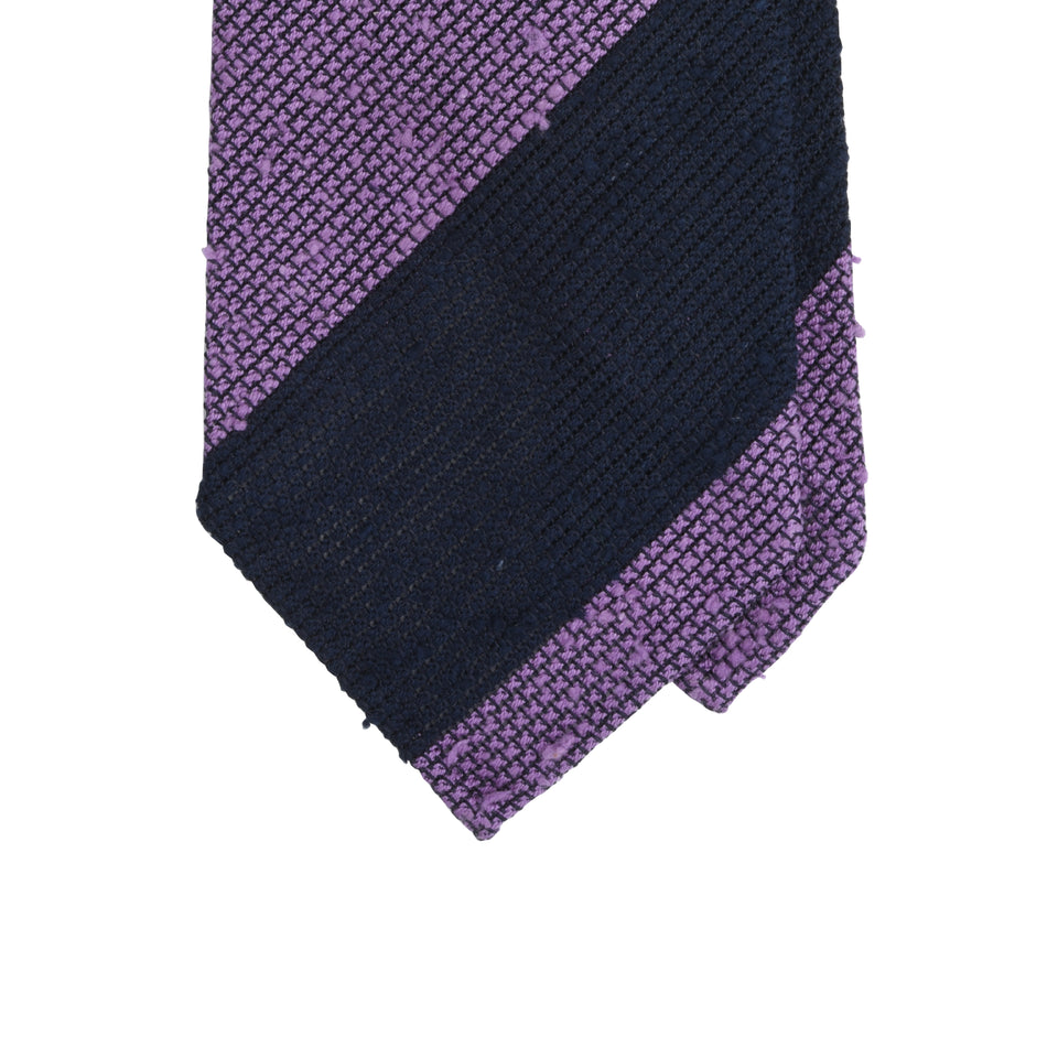 Amidé Hadelin | Block stripe shantung grenadine tie - navy/purple