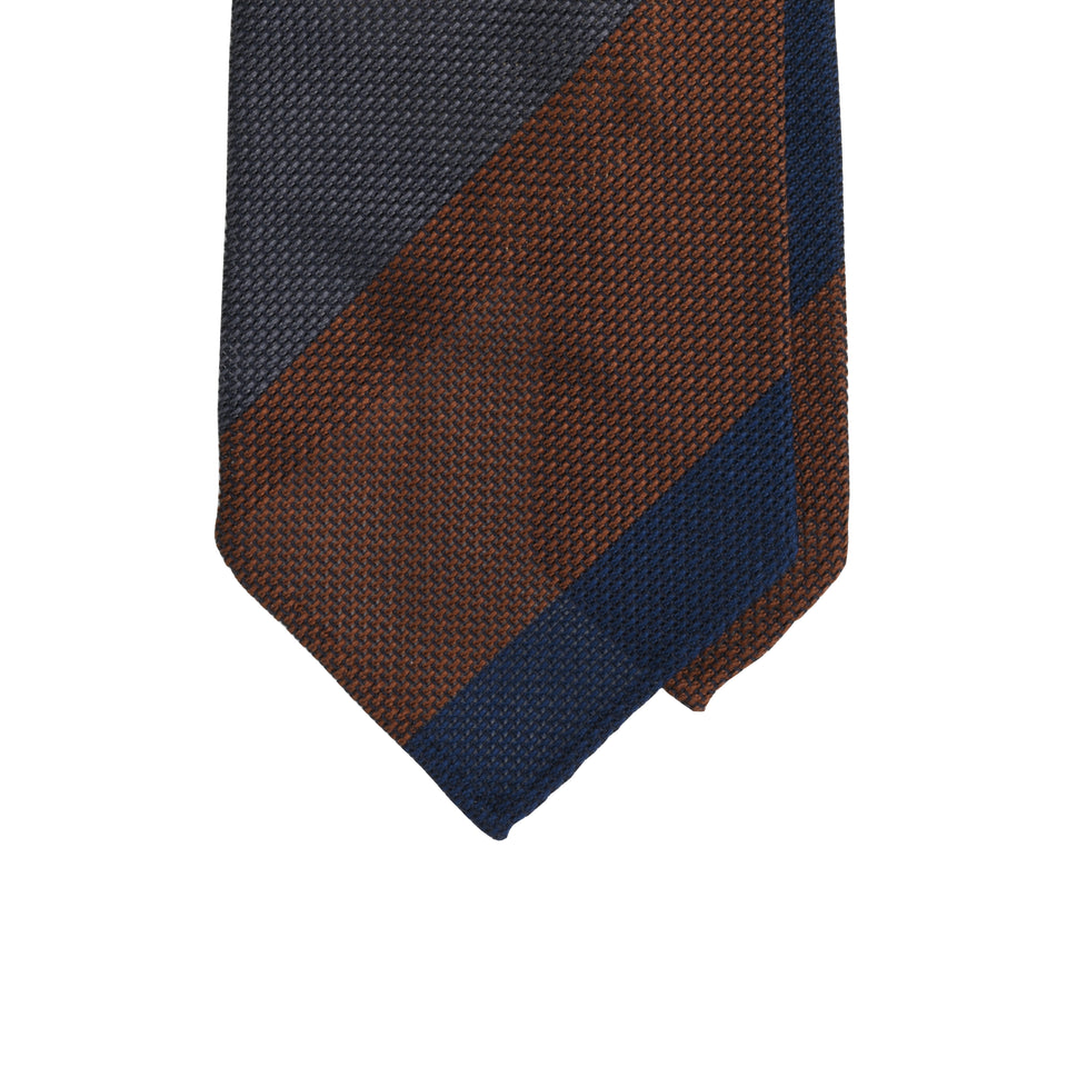 Amidé Hadelin | Block stripe 5-colour grenadine tie - navy/green/burgundy/steel/beige