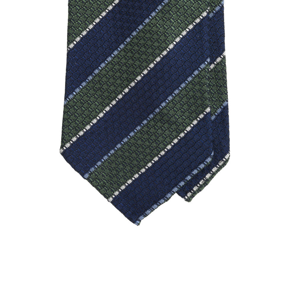 Amidé Hadelin | Striped grenadine tie - green/navy