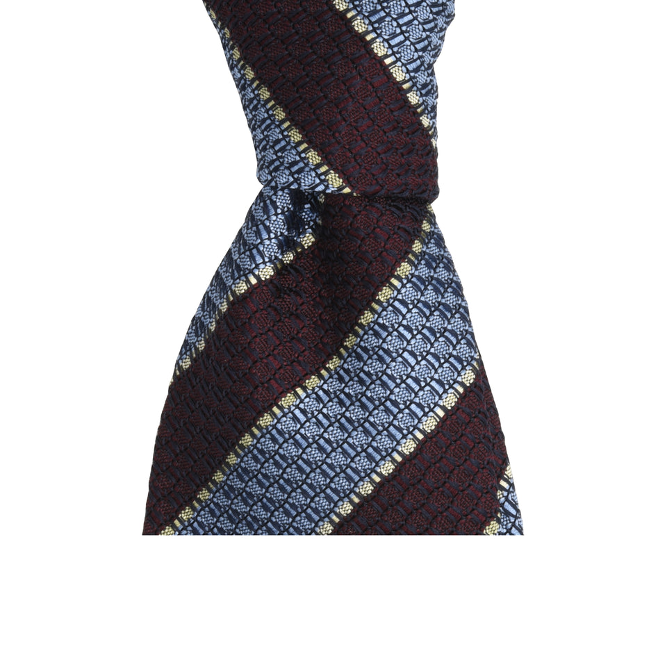 Amidé Hadelin | Striped grenadine tie - light blue/oxblood