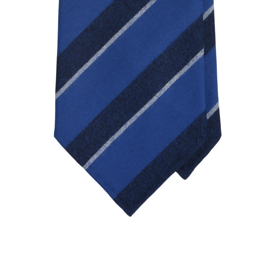 Amidé Hadelin | Fox Brothers stripe tie, dark blue