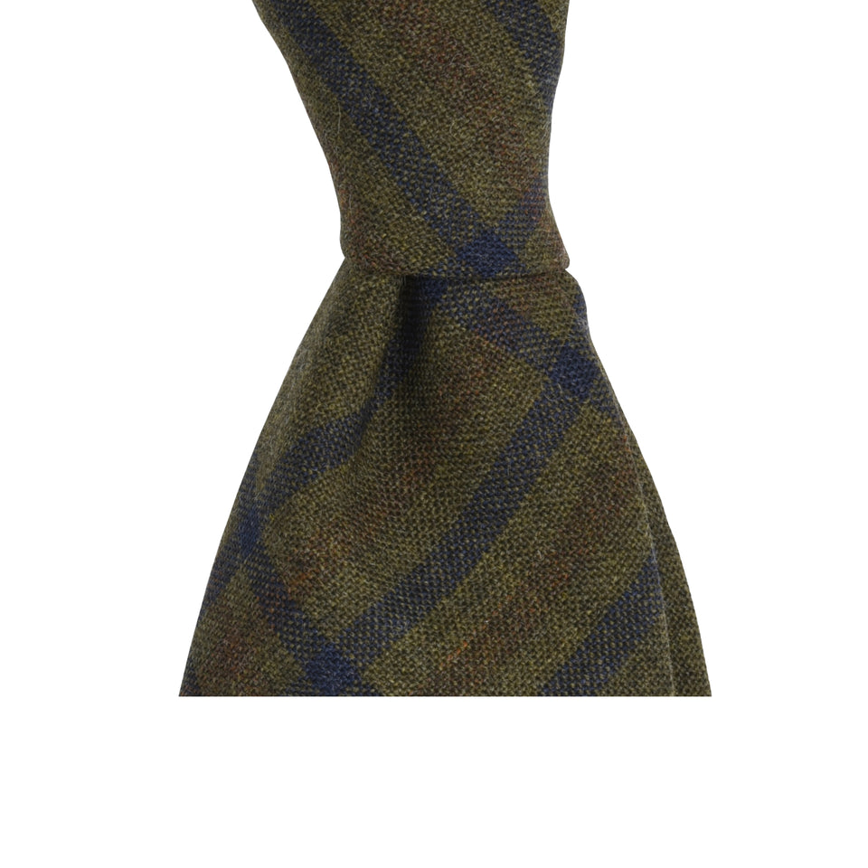 Amidé Hadelin | Fox Brothers check tie, olive