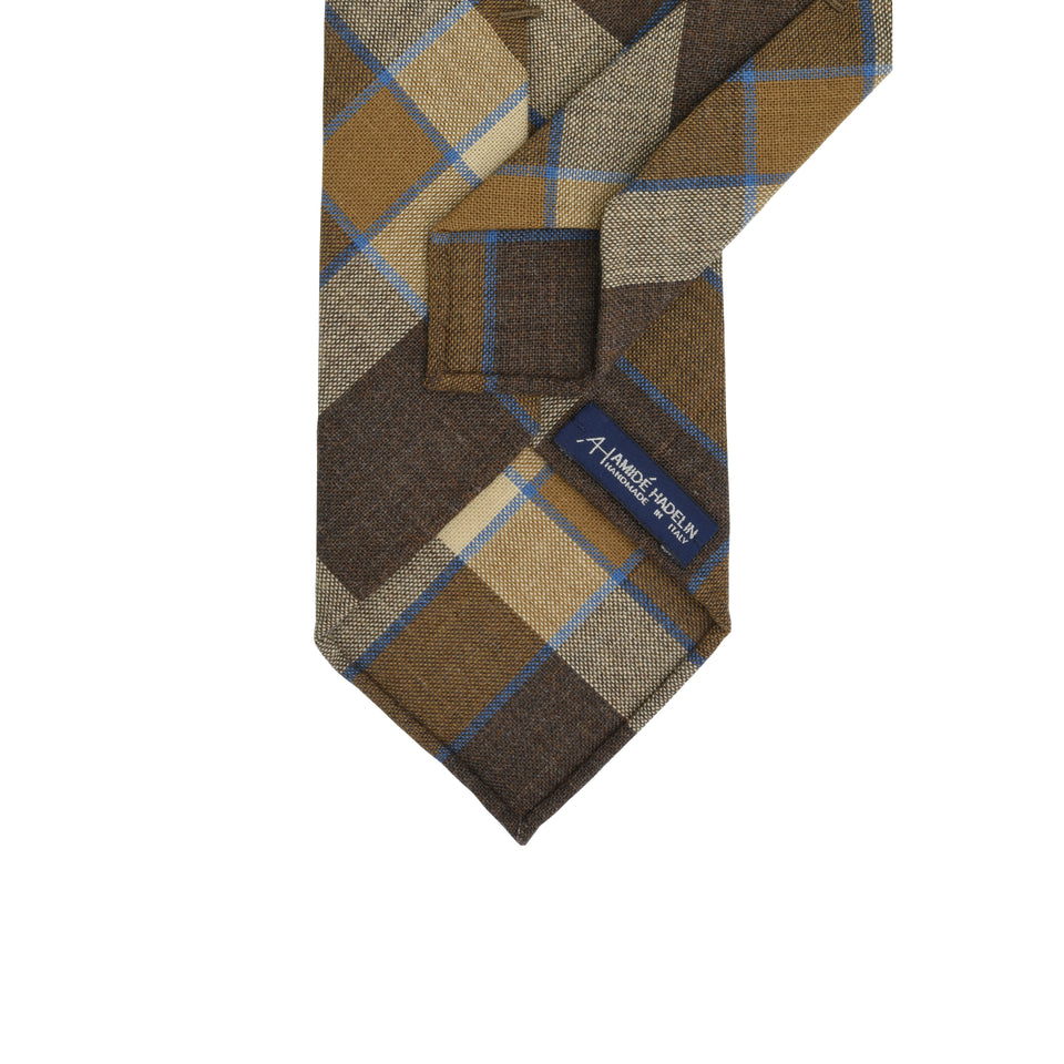 Fox Brothers madras check tie - brown