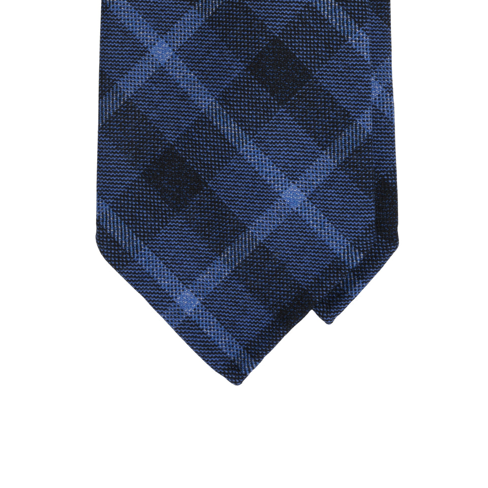 Amidé Hadelin | Holland & Sherry block check tweed tie - French blue/navy