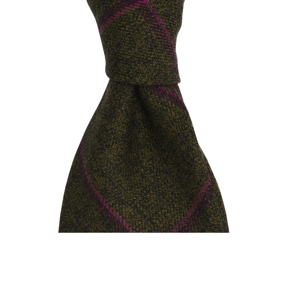 Amidé Hadelin | Holland & Sherry windowpane check tweed tie - russet/plum/pink