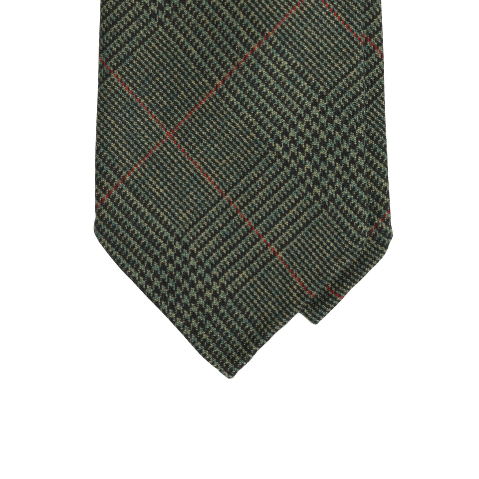 Amidé Hadelin | Holland & Sherry PoW check tweed tie - olive/fawn/cherry