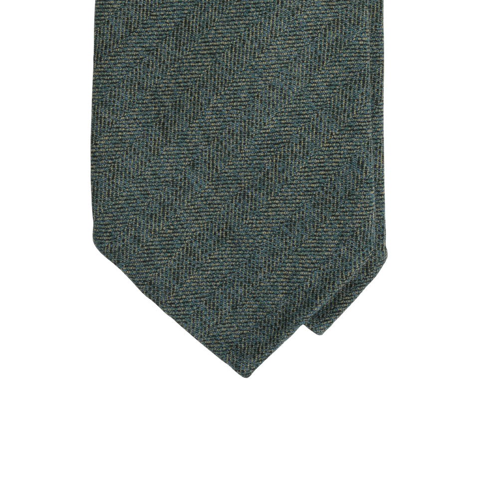 Amidé Hadelin | Holland & Sherry herringbone tweed tie - sage green