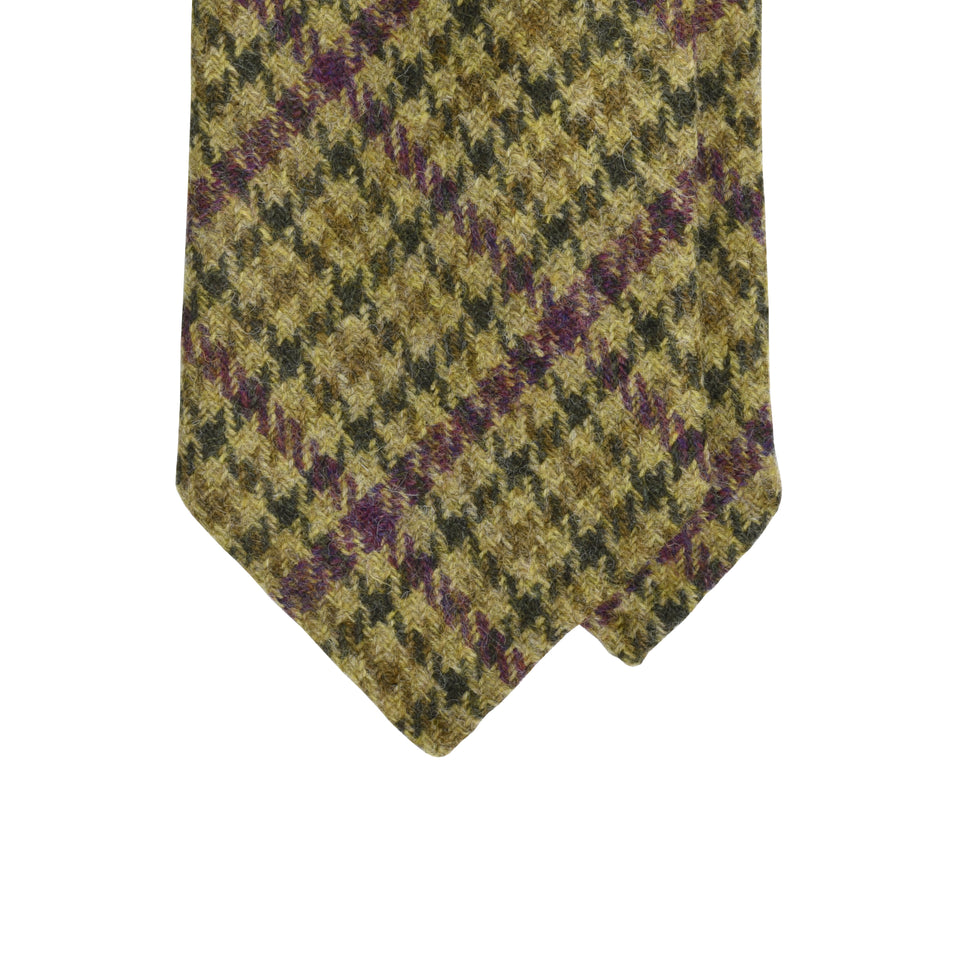 Amidé Hadelin | Holland & Sherry gun club check tweed tie - moss green_tip