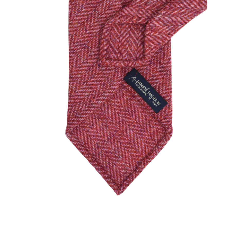 Amidé Hadelin | Holland & Sherry herringbone tweed tie - cherry