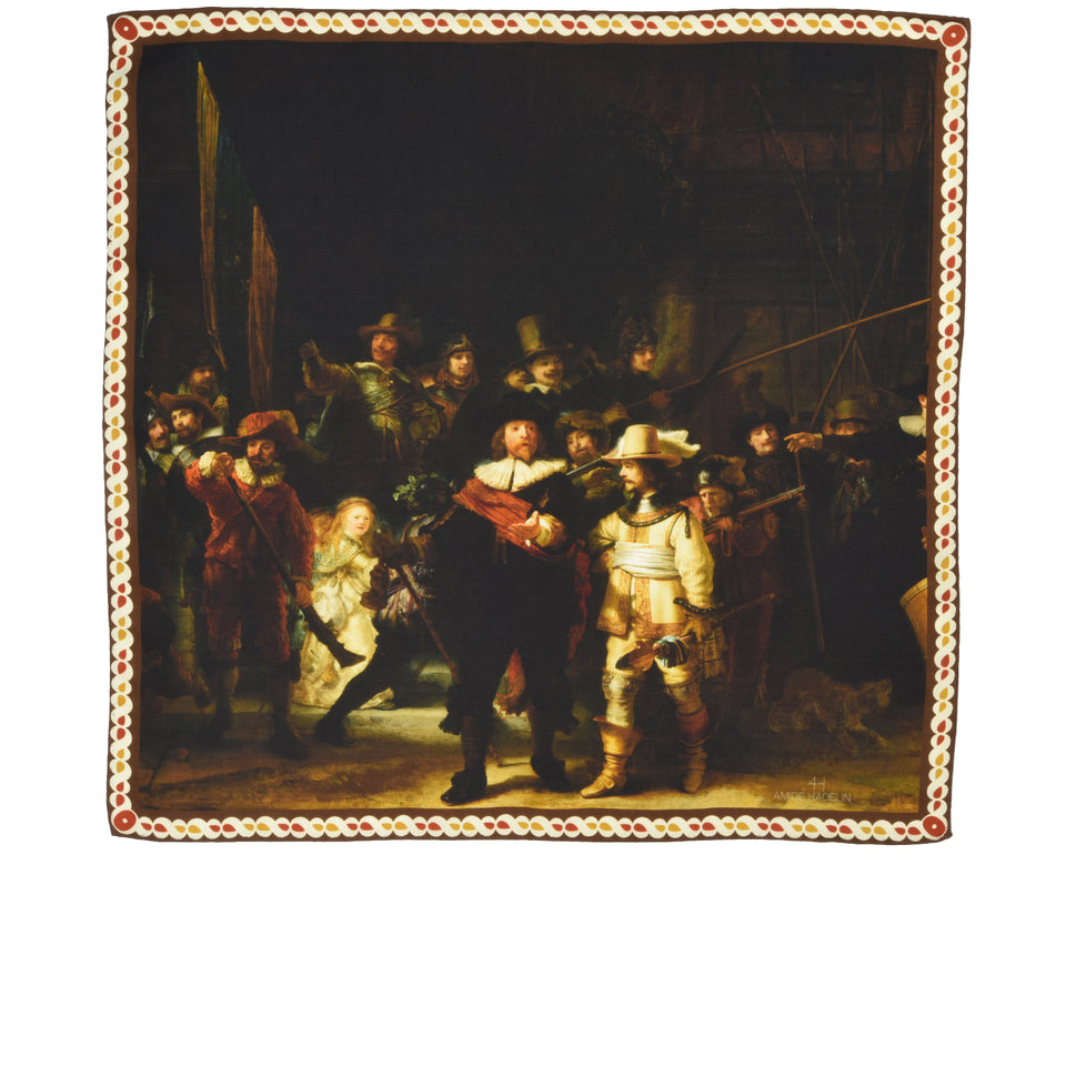 Amidé Hadelin | Rembrandt van Rijn pocket square 'Night Watch'