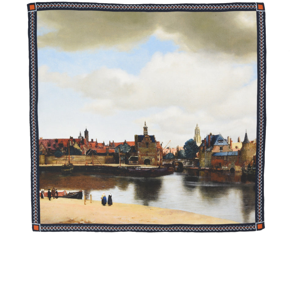 Amidé Hadelin | Johannes Vermeer pocket square 'View of Delft'