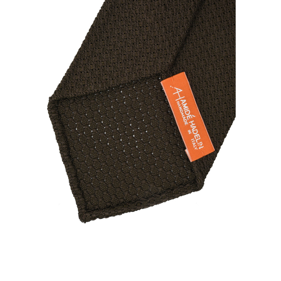 Orange Label | 'garza grossa' tie, dark brown_back