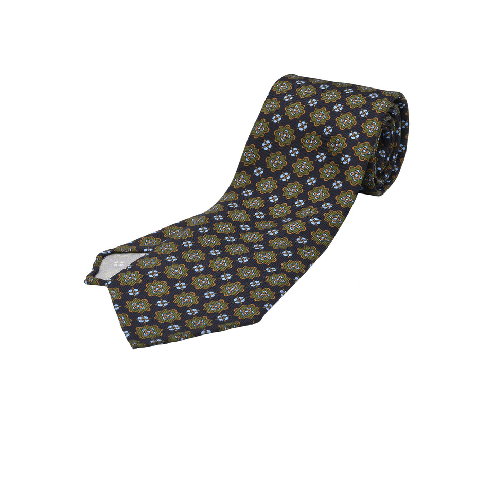 Orange Label | 36oz printed silk tie, navy_full