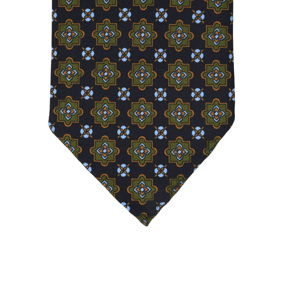 Orange Label | 36oz printed silk tie, navy_tip