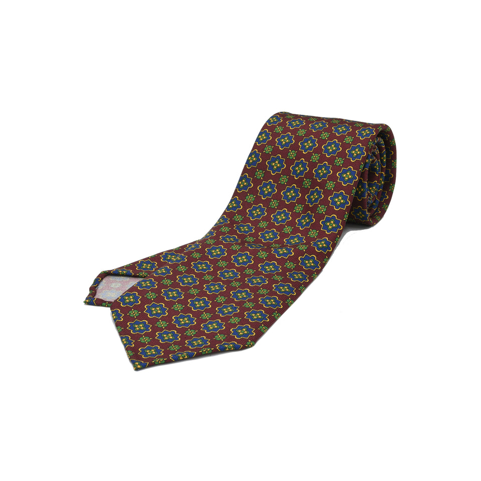 Orange Label | 36oz printed silk tie, burgundy_full