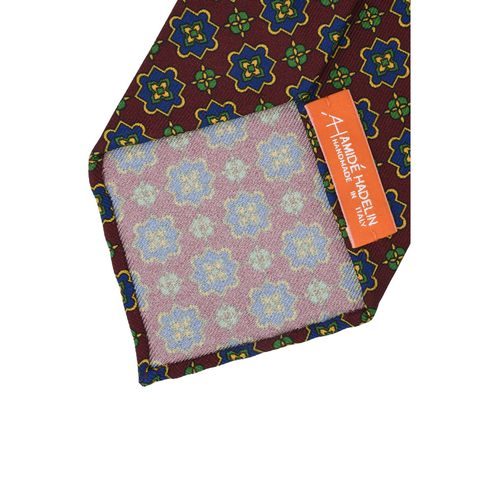 Orange Label | 36oz printed silk tie, burgundy_back