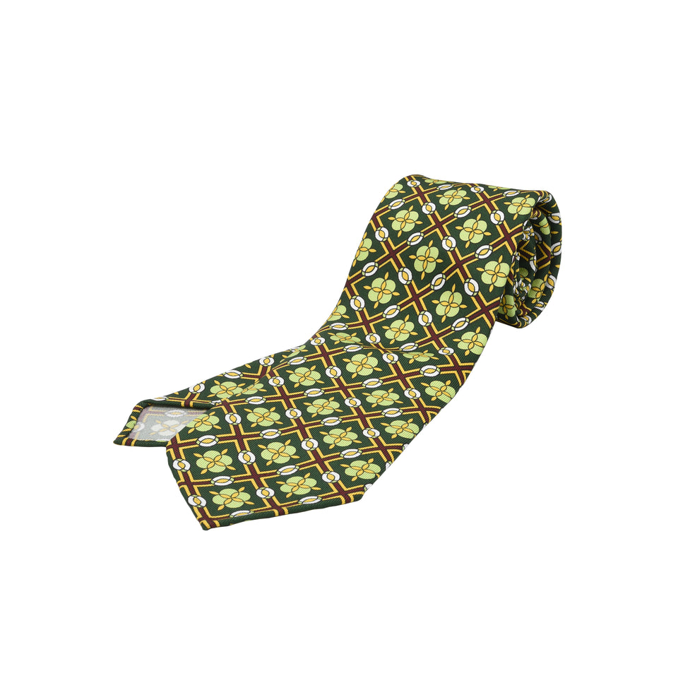 Orange Label | 36oz printed silk tie, green_full