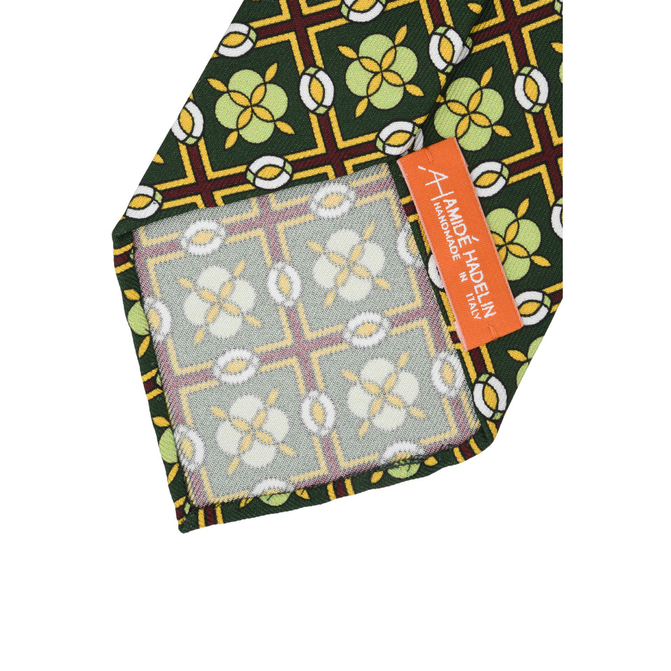 Orange Label | 36oz printed silk tie, green_back