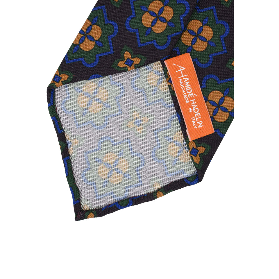 Orange Label | 36oz printed silk tie, plum_back