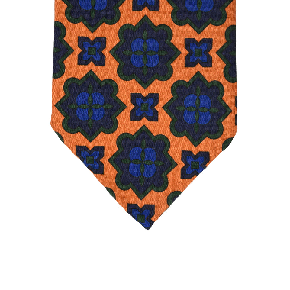 Orange Label | 36oz printed silk tie, marigold_tip