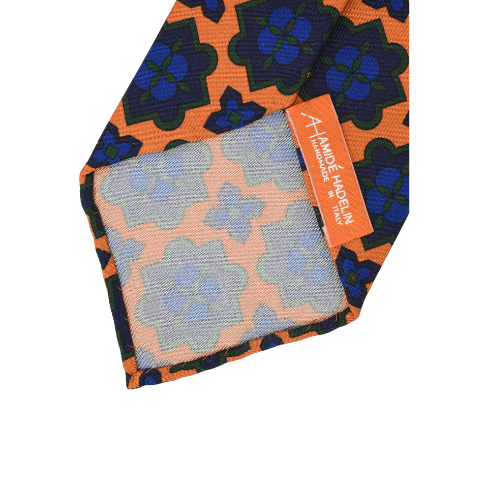 Orange Label | 36oz printed silk tie, marigold_back