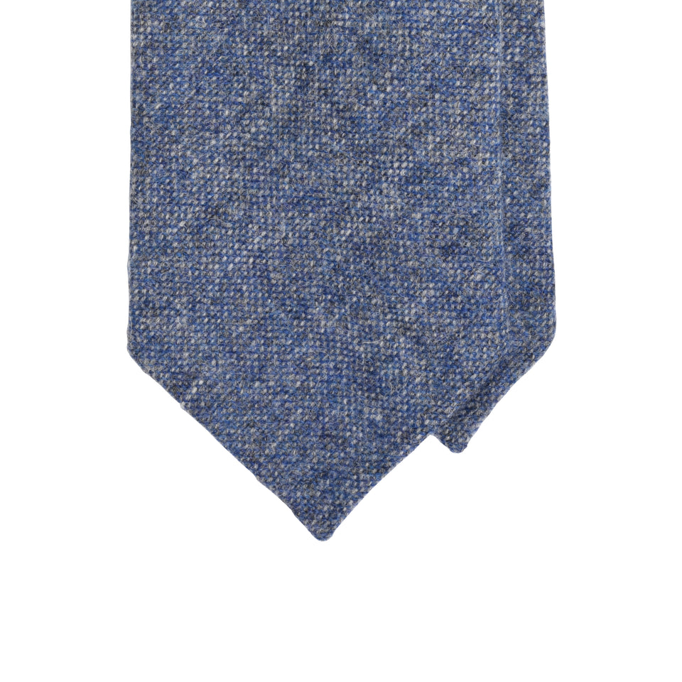 Amidé Hadelin | Abraham Moon Shetland tweed tie - steel blue_tip