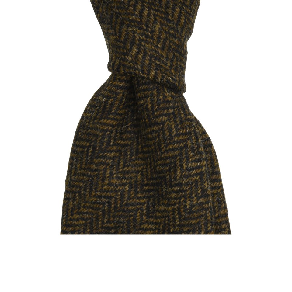 Amidé Hadelin | Abraham Moon herringbone Shetland tweed tie - dark brown_knot