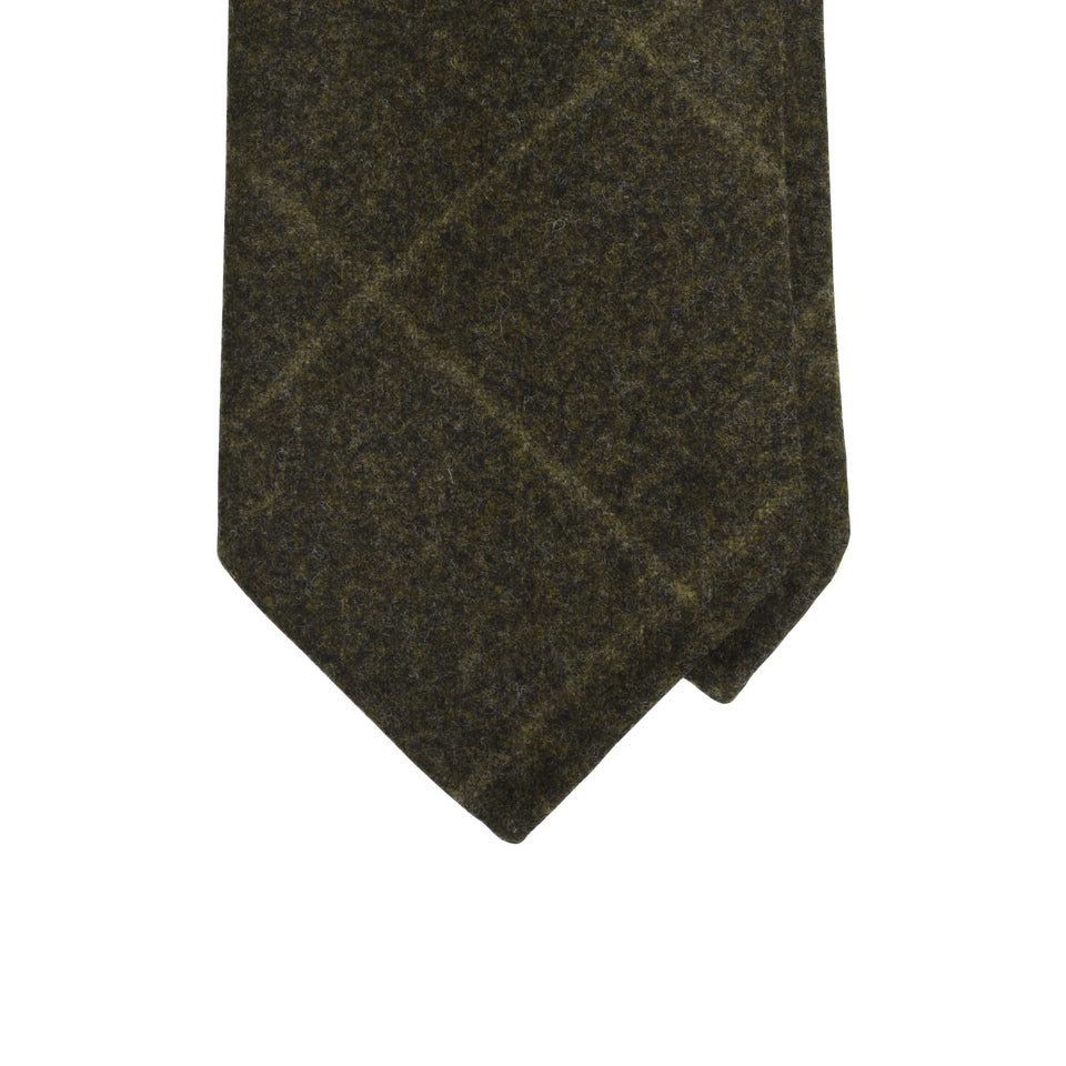 Amidé Hadelin | Loden windowpane tie, brown_tip