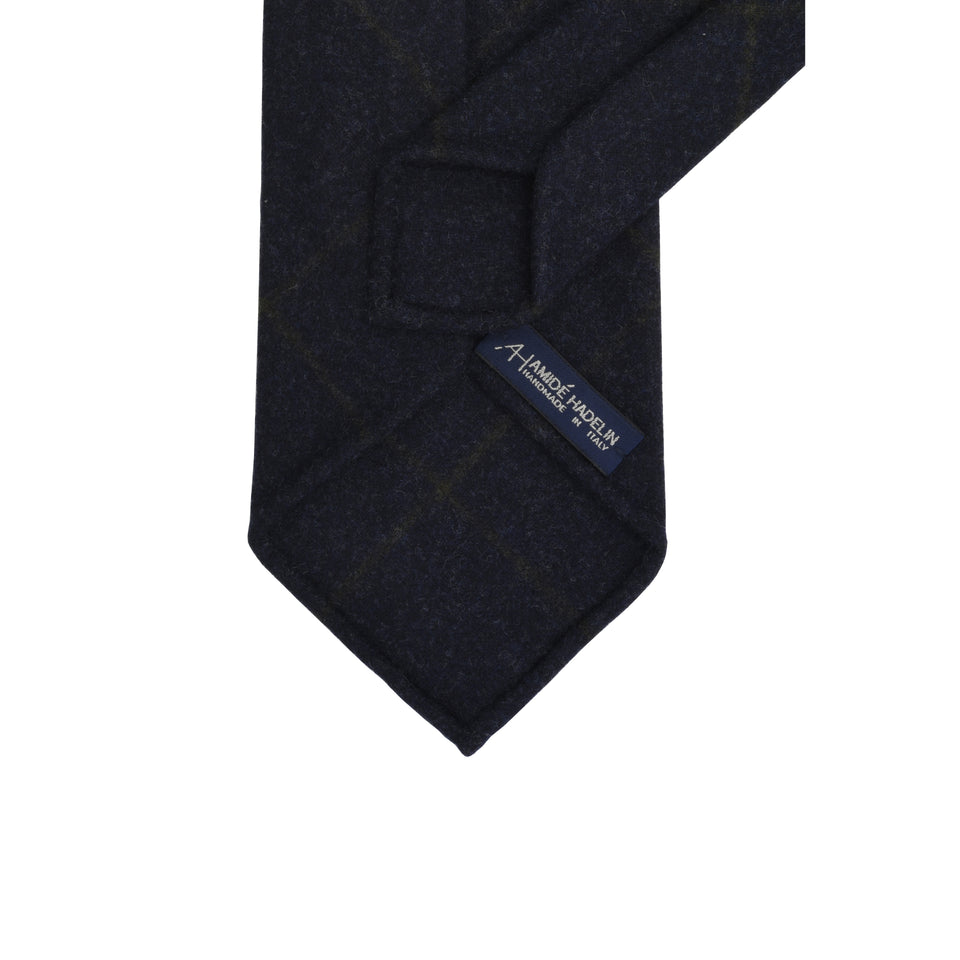 Amidé Hadelin | Loden windowpane tie, navy_back