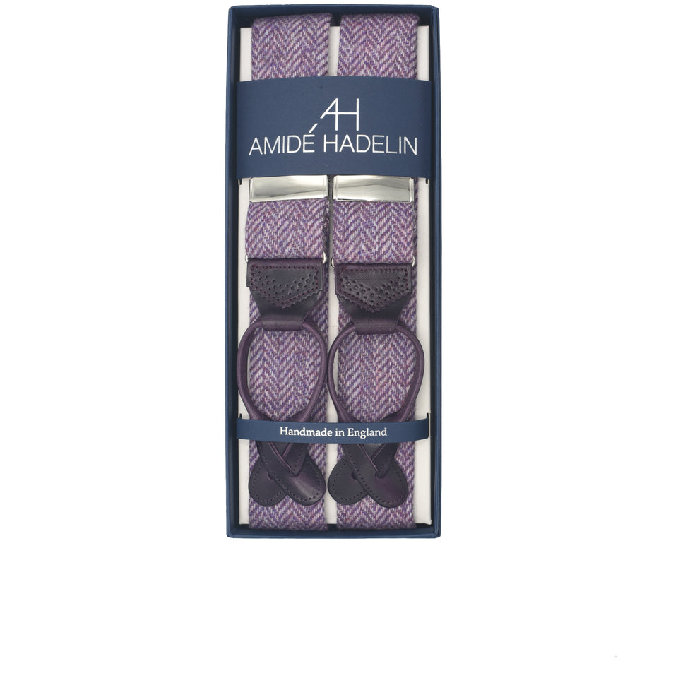 Amidé Hadelin | Holland & Sherry herringbone tweed braces - lilac_full
