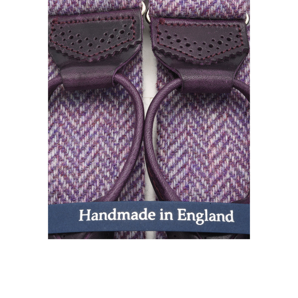 Amidé Hadelin | Holland & Sherry herringbone tweed braces - lilac_detail