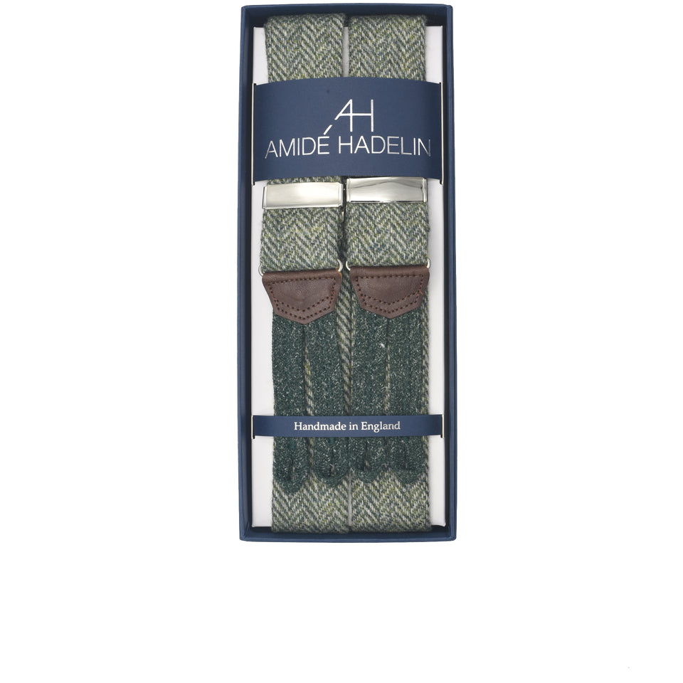 Amidé Hadelin | Holland & Sherry herringbone tweed braces - sage green_full