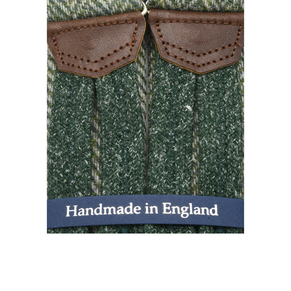 Amidé Hadelin | Holland & Sherry herringbone tweed braces - sage green_detail