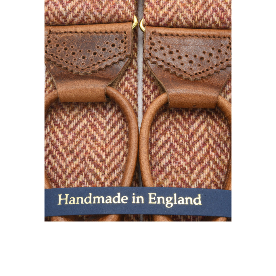 Amidé Hadelin | Holland & Sherry herringbone tweed braces - orange_detail