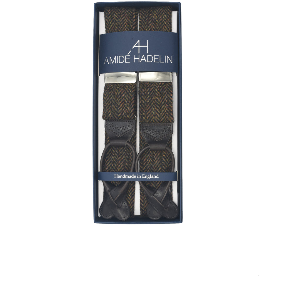 Amidé Hadelin | Holland & Sherry herringbone tweed braces - dark brown_full